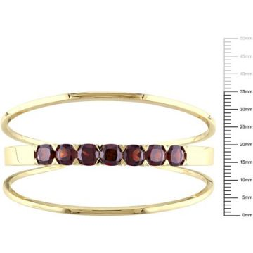 Tangelo Tangelo 8-3/4 Carat T.G.W. Cushion-Cut Garnet Yellow Rhodium-Plated Sterling Silver Bangle Bracelet, 7.5